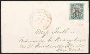 Sale Number 1206, Lot Number 747, Carriers and LocalsU.S. City Despatch Post, New York N.Y., 3c Black on Light Blue Unsurfaced (6LB3), U.S. City Despatch Post, New York N.Y., 3c Black on Light Blue Unsurfaced (6LB3)