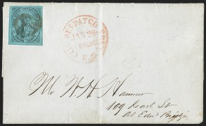 Sale Number 1206, Lot Number 748, Carriers and LocalsU.S. City Despatch Post, New York N.Y., 3c Black on Blue Green Glazed (6LB5), U.S. City Despatch Post, New York N.Y., 3c Black on Blue Green Glazed (6LB5)