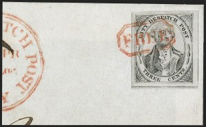 Sale Number 1206, Lot Number 760, Carriers and Locals(Greig's) City Despatch Post, New York N.Y., 3c Black on Grayish, Sperati Reproduction (40L1 Sperati), (Greig's) City Despatch Post, New York N.Y., 3c Black on Grayish, Sperati Reproduction (40L1 Sperati)