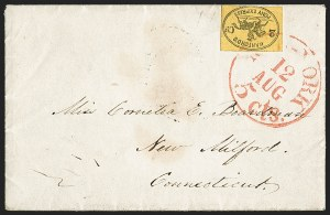 Sale Number 1206, Lot Number 763, Carriers and LocalsHanford's Pony Express, New York N.Y., 2c Black on Orange Yellow (78L1), Hanford's Pony Express, New York N.Y., 2c Black on Orange Yellow (78L1)