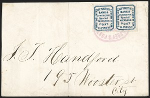 Sale Number 1206, Lot Number 766, Carriers and LocalsHussey's Post, New York N.Y., (unstated value) Blue, Wove (87L45), Hussey's Post, New York N.Y., (unstated value) Blue, Wove (87L45)