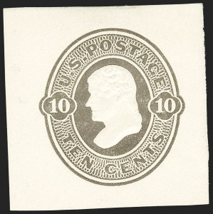 Sale Number 1206, Lot Number 773, Postal Stationery10c Olive Black on Amber, Die 39, Cut Square (U90), 10c Olive Black on Amber, Die 39, Cut Square (U90)