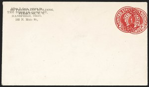 Sale Number 1206, Lot Number 777, Postal Stationery2c Carmine on White entire, Die 1, Double Impression (U429m), 2c Carmine on White entire, Die 1, Double Impression (U429m)