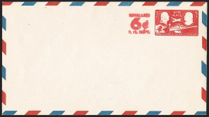 Sale Number 1206, Lot Number 779, Postal Stationery6c on 5c Carmine on White entire, Air Post (UC23; unlisted in UPSS), 6c on 5c Carmine on White entire, Air Post (UC23; unlisted in UPSS)