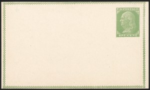 Sale Number 1206, Lot Number 782, Postal Stationery1c Yellow Green on Buff, Forerunner Postal Card Essay (UX1E-Ha), 1c Yellow Green on Buff, Forerunner Postal Card Essay (UX1E-Ha)