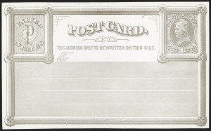 Sale Number 1206, Lot Number 783, Postal Stationery1c Pale Gray on White Wove, National Bank Note Co., New York, Forerunner Postal Card Essay (UX1E-Xb), 1c Pale Gray on White Wove, National Bank Note Co., New York, Forerunner Postal Card Essay (UX1E-Xb)