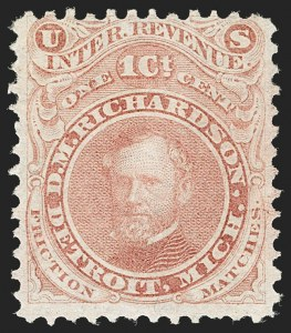Sale Number 1206, Lot Number 824, Private Die ProprietaryD. M. Richardson, 1c Red, Old Paper (RO154a), D. M. Richardson, 1c Red, Old Paper (RO154a)