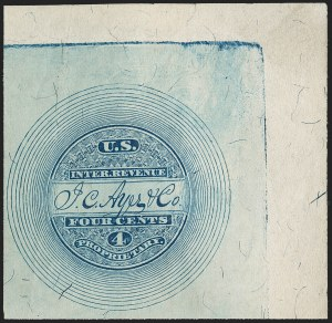 Sale Number 1206, Lot Number 827, Private Die ProprietaryJ. C. Ayer & Co., 4c Blue, Silk Paper, Imperforate (RS10b), J. C. Ayer & Co., 4c Blue, Silk Paper, Imperforate (RS10b)