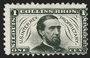 Sale Number 1206, Lot Number 828, Private Die ProprietaryCollins Brothers, 1c Black, Silk Paper (RS59b), Collins Brothers, 1c Black, Silk Paper (RS59b)