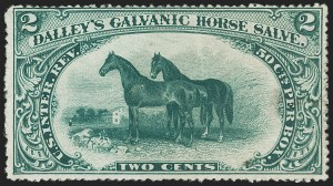 Sale Number 1206, Lot Number 830, Private Die ProprietaryDalley's Galvanic Horse Salve, 2c Green, Old, Silk and Watermarked Papers (RS73a, RS37b, RS37d), Dalley's Galvanic Horse Salve, 2c Green, Old, Silk and Watermarked Papers (RS73a, RS37b, RS37d)