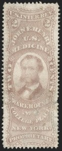 Sale Number 1206, Lot Number 837, Private Die ProprietaryJohn F. Henry, 2c Violet, Old Paper (RS112a), John F. Henry, 2c Violet, Old Paper (RS112a)