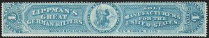 Sale Number 1206, Lot Number 843, Private Die ProprietaryJacob Lippman & Brother, 4c Blue, Old Paper (RS163a), Jacob Lippman & Brother, 4c Blue, Old Paper (RS163a)