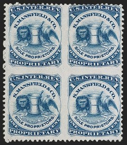 Sale Number 1206, Lot Number 845, Private Die ProprietaryS. Mansfield & Co., 1c Blue, Pink Paper, Block of Four, Imperforate Between (RS174cj), S. Mansfield & Co., 1c Blue, Pink Paper, Block of Four, Imperforate Between (RS174cj)