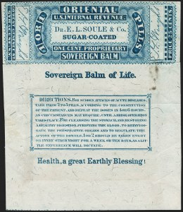 Sale Number 1206, Lot Number 850, Private Die ProprietaryDr. E. L. Soule & Co., Syracuse Wrapper, 1c Blue, Silk Paper, Foreign Entry (RS227b var), Dr. E. L. Soule & Co., Syracuse Wrapper, 1c Blue, Silk Paper, Foreign Entry (RS227b var)