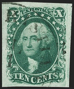 Sale Number 1206, Lot Number 86, 1851-56 Issue (Scott 8-17)10c Green, Ty. II (14), 10c Green, Ty. II (14)