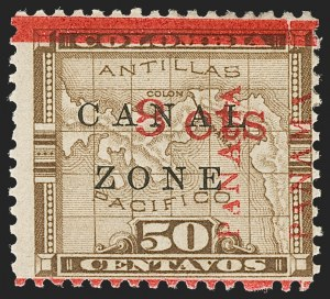 "Sale Number 1206, Lot Number 888, Canal Zone thru GuamCANAL ZONE, 1904, 8c on 50c Bister Brown, Two ""Panama"" Close Together (15 var, CZSG 15.7), CANAL ZONE, 1904, 8c on 50c Bister Brown, Two ""Panama"" Close Together (15 var, CZSG 15.7)"
