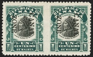 Sale Number 1206, Lot Number 890, Canal Zone thru GuamCANAL ZONE, 1907, 1c Green & Black, Ovpt. Reading Down, Horizontal Pair, Imperforate Between (22a), CANAL ZONE, 1907, 1c Green & Black, Ovpt. Reading Down, Horizontal Pair, Imperforate Between (22a)