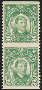 Sale Number 1206, Lot Number 915, PhilippinesPHILIPPINES, 1917, 2c Yellow Green, Vertical Pair, Imperforate Horizontally (290b), PHILIPPINES, 1917, 2c Yellow Green, Vertical Pair, Imperforate Horizontally (290b)