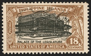 Sale Number 1206, Lot Number 918, PhilippinesPHILIPPINES, 1926, 18c Light Brown & Black, Double Impression of Center (322a), PHILIPPINES, 1926, 18c Light Brown & Black, Double Impression of Center (322a)