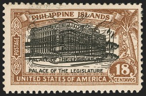 Sale Number 1206, Lot Number 919, PhilippinesPHILIPPINES, 1926, 18c Light Brown & Black, Double Impression of Center (322a), PHILIPPINES, 1926, 18c Light Brown & Black, Double Impression of Center (322a)