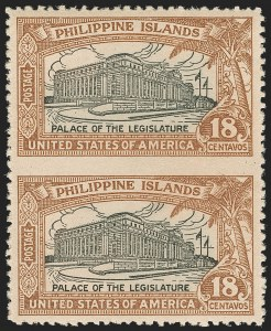 Sale Number 1206, Lot Number 920, PhilippinesPHILIPPINES, 1926, 18c Light Brown & Black, Vertical Pair, Imperforate Between (322b), PHILIPPINES, 1926, 18c Light Brown & Black, Vertical Pair, Imperforate Between (322b)