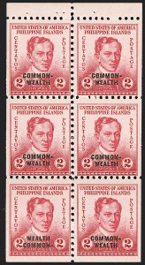 "Sale Number 1206, Lot Number 925, PhilippinesPHILIPPINES, 1939, 2c Rose, Booklet Pane of Six, Bottom Left Stamp ""Wealth Common-"" (433b), PHILIPPINES, 1939, 2c Rose, Booklet Pane of Six, Bottom Left Stamp ""Wealth Common-"" (433b)"