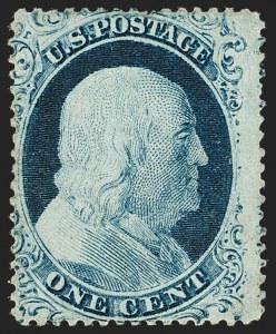 Sale Number 1206, Lot Number 93, 1857-60 Issue (Scott 21-39)1c Blue, Ty. IV (23), 1c Blue, Ty. IV (23)