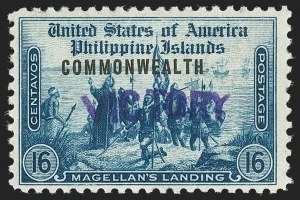 "Sale Number 1206, Lot Number 934, PhilippinesPHILIPPINES, 1944, 16c Dark Blue, ""Victory"" Ovpt. (480), PHILIPPINES, 1944, 16c Dark Blue, ""Victory"" Ovpt. (480)"