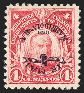 Sale Number 1206, Lot Number 937, PhilippinesPHILIPPINES, 1926, 4c Carmine, Air Post, Inverted Ovpt. (C2a), PHILIPPINES, 1926, 4c Carmine, Air Post, Inverted Ovpt. (C2a)