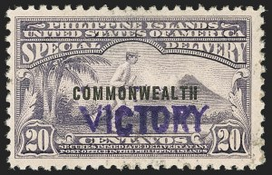 "Sale Number 1206, Lot Number 943, PhilippinesPHILIPPINES, 1944, 20c Blue Violet, Special Delivery, ""Victory"" Ovpt. (E9), PHILIPPINES, 1944, 20c Blue Violet, Special Delivery, ""Victory"" Ovpt. (E9)"