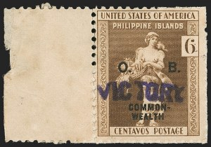 "Sale Number 1206, Lot Number 946, PhilippinesPHILIPPINES, 1944, 6c Dark Brown, Official, ""Victory"" Ovpt. (O40A), PHILIPPINES, 1944, 6c Dark Brown, Official, ""Victory"" Ovpt. (O40A)"