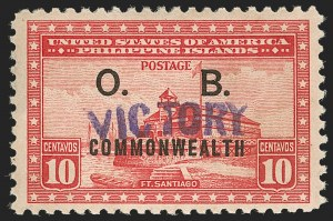 "Sale Number 1206, Lot Number 947, PhilippinesPHILIPPINES, 1944, 10c Rose Carmine, Official, ""Victory"" Ovpt. (O41), PHILIPPINES, 1944, 10c Rose Carmine, Official, ""Victory"" Ovpt. (O41)"