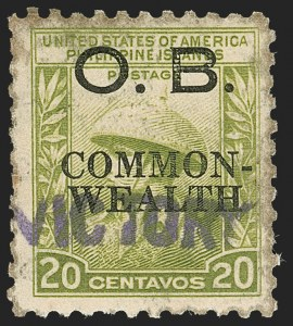"Sale Number 1206, Lot Number 949, PhilippinesPHILIPPINES, 1944, 20c Light Olive Green, Official, ""Victory"" Ovpt. (O43), PHILIPPINES, 1944, 20c Light Olive Green, Official, ""Victory"" Ovpt. (O43)"