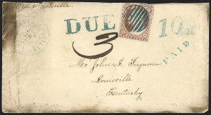 Sale Number 1206, Lot Number 982, Confederate States: Uses of U.S. Stamps, Handstamped PaidsLouisville Ky. Southern Letter Unpaid, Louisville Ky. Southern Letter Unpaid