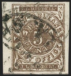 Sale Number 1206, Lot Number 991, Confederate States: Postmasters' ProvisionalsNew Orleans La., 5c Brown on White (62X3), New Orleans La., 5c Brown on White (62X3)
