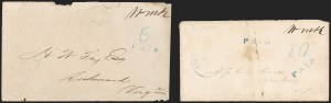 Sale Number 1206, Lot Number 994, Confederate States: Postmasters' ProvisionalsCharlottesville Va., 5c and 10c Blue entires (127XU1-127XU2), Charlottesville Va., 5c and 10c Blue entires (127XU1-127XU2)