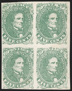 Sale Number 1206, Lot Number 995, Confederate States: General Issues off Cover5c Green, Stone 1 (1), 5c Green, Stone 1 (1)