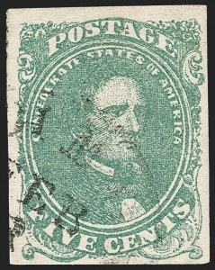 Sale Number 1206, Lot Number 996, Confederate States: General Issues off Cover5c Green, Stone 1-2 (1), 5c Green, Stone 1-2 (1)