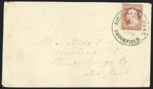 Sale Number 1207, Lot Number 30, Pony Express CoversHannibal & St. Joseph R.R. Brookfield Apr. (20?) 1860, Hannibal & St. Joseph R.R. Brookfield Apr. (20?) 1860