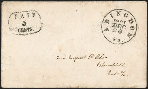 Sale Number 1208, Lot Number 101, Postmasters' ProvisionalsAbingdon Va., 5c Black entire (2XU2), Abingdon Va., 5c Black entire (2XU2)