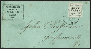 Sale Number 1208, Lot Number 109, Postmasters' ProvisionalsMacon Ga., 5c Black on Light Blue Green Wove, Comma after Office (53X1), Macon Ga., 5c Black on Light Blue Green Wove, Comma after Office (53X1)