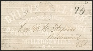 Sale Number 1208, Lot Number 119, Postmasters' ProvisionalsMilledgeville Ga., 10c on 5c Black entire (57XU1b), Milledgeville Ga., 10c on 5c Black entire (57XU1b)