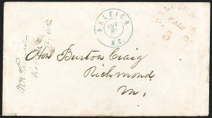 Sale Number 1208, Lot Number 135, Postmasters' ProvisionalsRaleigh N.C., 5c Red entire (68XU1), Raleigh N.C., 5c Red entire (68XU1)