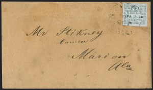 Sale Number 1208, Lot Number 136, Postmasters' ProvisionalsUniontown Ala., 5c Green on Gray Blue (86X3), Uniontown Ala., 5c Green on Gray Blue (86X3)