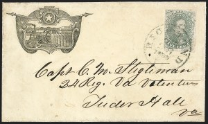 Sale Number 1208, Lot Number 153, Confederate Patriotic Covers5c Green, Stone 1-2 (1), 5c Green, Stone 1-2 (1)