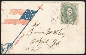 Sale Number 1208, Lot Number 156, Confederate Patriotic Covers5c Olive Green, Stone A-B (1c), 5c Olive Green, Stone A-B (1c)