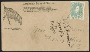 Sale Number 1208, Lot Number 159, Confederate Patriotic Covers5c Green, Stone 1-2 (1), 5c Green, Stone 1-2 (1)