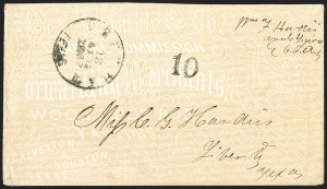 Sale Number 1208, Lot Number 208, Overall Advertising CoversBrenham Texas 18 Apr. 1862, Brenham Texas 18 Apr. 1862