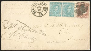 Sale Number 1208, Lot Number 295, Union Prisoners' Mail from Confederate PrisonsCamp Sorghum, Columbia S.C, Camp Sorghum, Columbia S.C