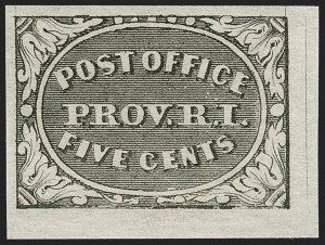 Sale Number 1209, Lot Number 1081, Postmasters' ProvisionalsProvidence, Rhode Island, 5c Gray Black (10X1), Providence, Rhode Island, 5c Gray Black (10X1)